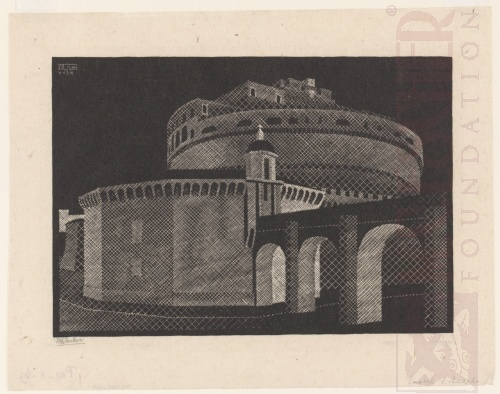 Nocturnal Rome: Castel Sant'Angelo. April 1934, Woodcut.