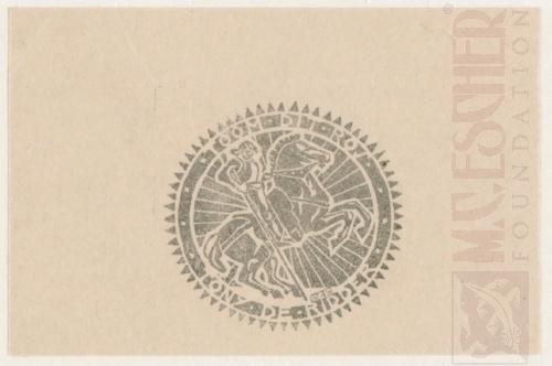 Bookplate Tony de Ridder. 1918, Linoleum cut.