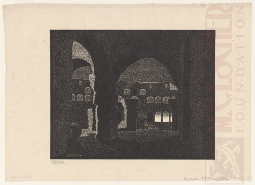 Nocturnal Rome: Colosseum. May 1934, Woodcut.