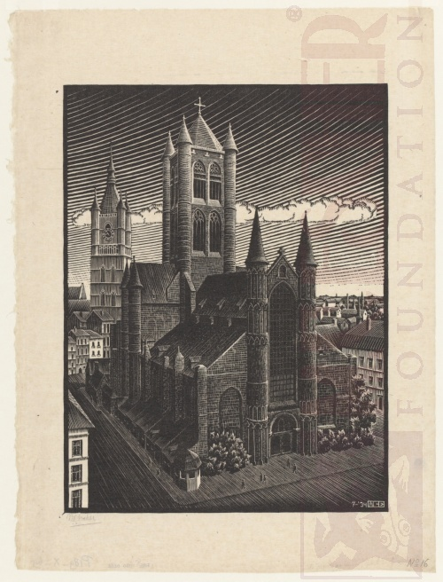 St Bavo's, Ghent. July 1934, Woodcut.