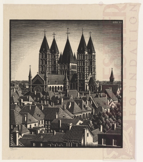 Tournai Cathedral. August 1934, Woodcut.