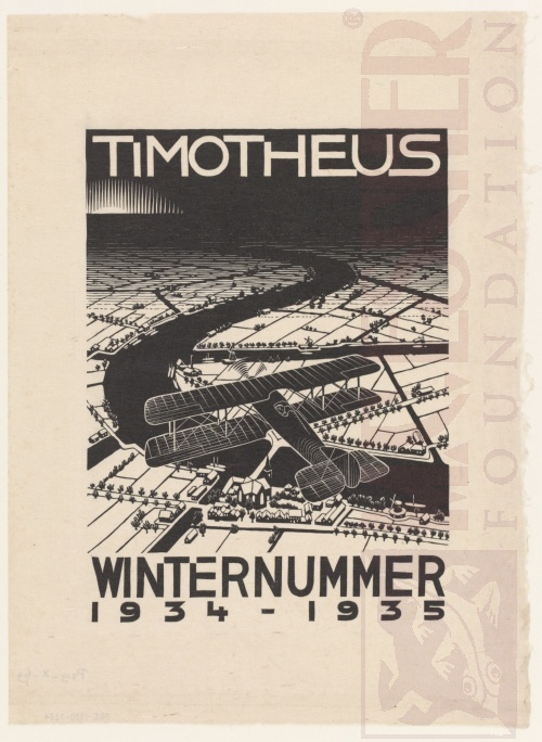 Aeroplane above a Snowy Landscape, cover of Timotheus, winter issue 1934-1935. October 1934, Woodcut.