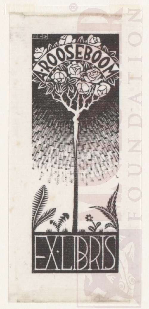 Bookplate A. Rooseboom. Octobre 1934, Wood Engraving.