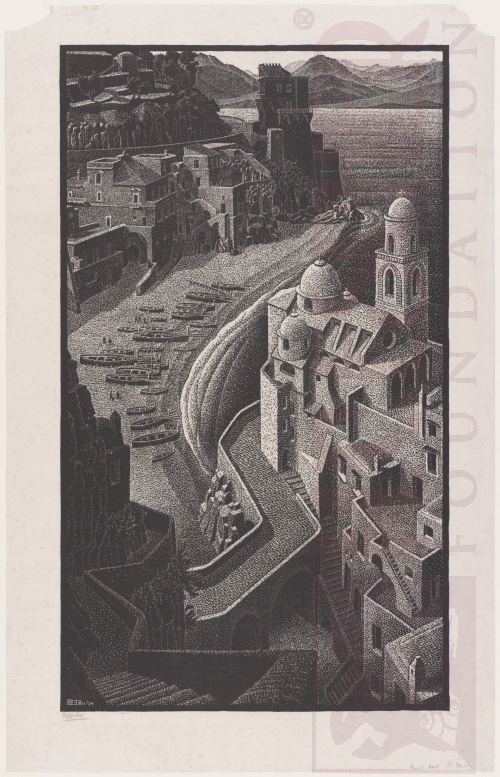 Coast of Amalfi (composition). November 1934, Woodcut.