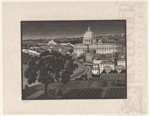 St Peter's, Seen from the Gianicolo (Rome). February 1935, Wood Engraving.