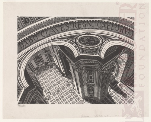 Inside St Peter's. March 1935, Wood Engraving.