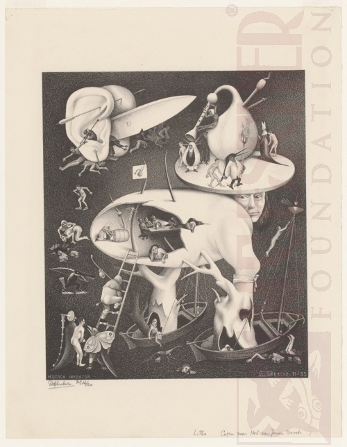 'Hell', copy after Hieronymus Bosch. November 1935, Lithograph.