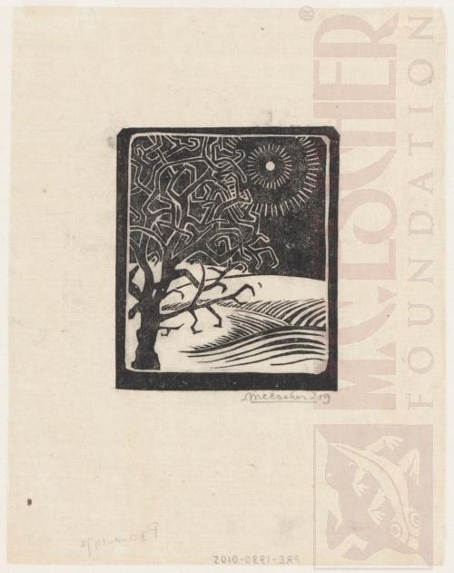 The Borger Oak, Oosterbeek. 1919, Linoleum cut.