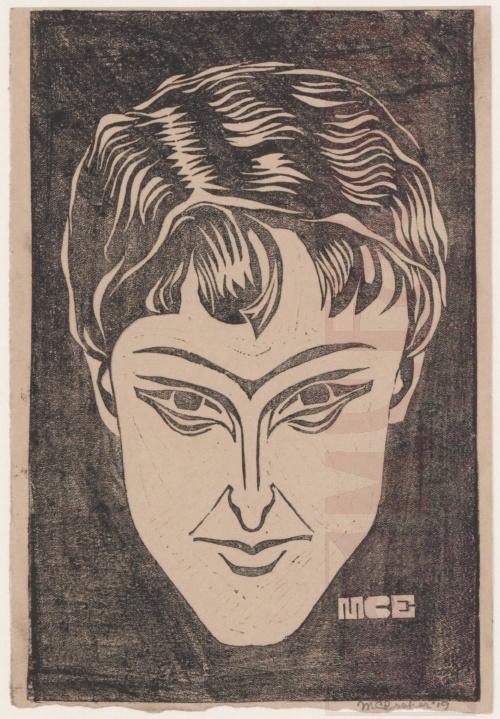 Portrait. 1919, Linoleum cut.