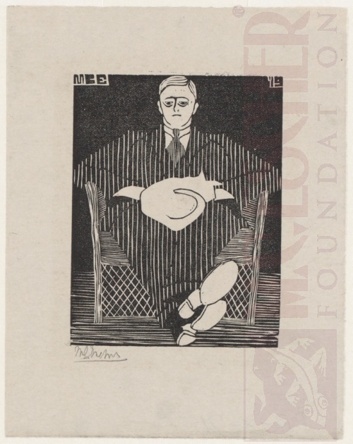 Seated Man with Cat on his Lap. 1919, Woodcut.