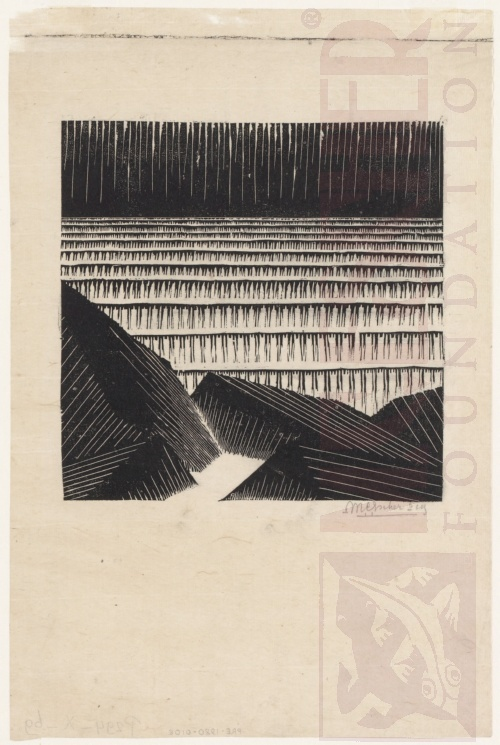 Blocks of Basalt along the Sea. 1919, Woodcut.