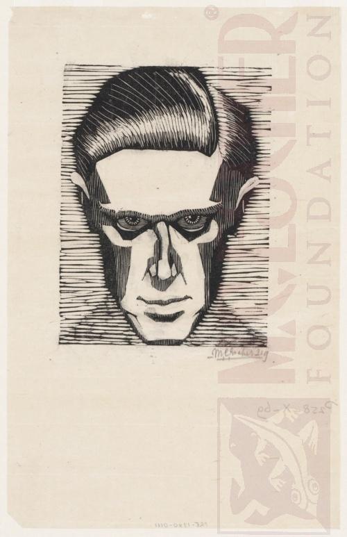 Self-Portrait. 1919, Woodcut.