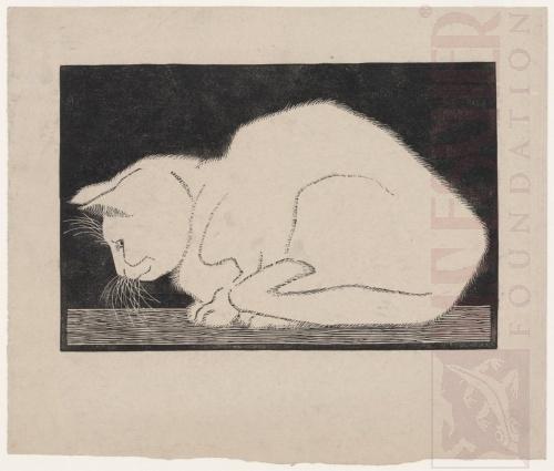 White Cat. 1919, Woodcut.