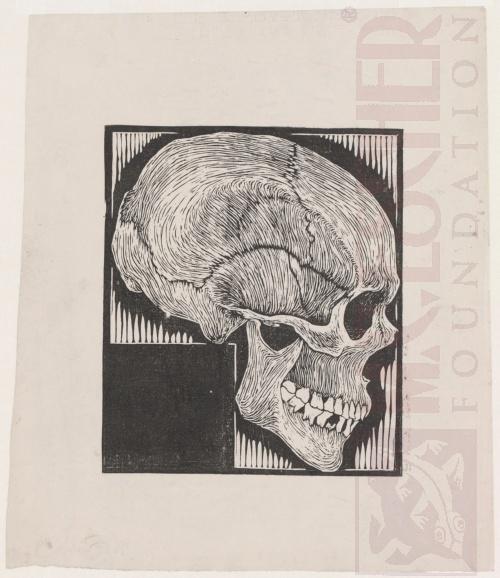 Skull. 1919 or 1920, Woodcut.