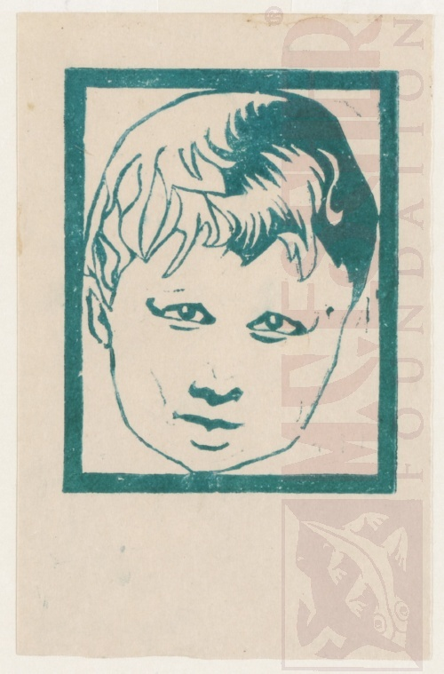 Head of a child. 1916, Linoleum cut.