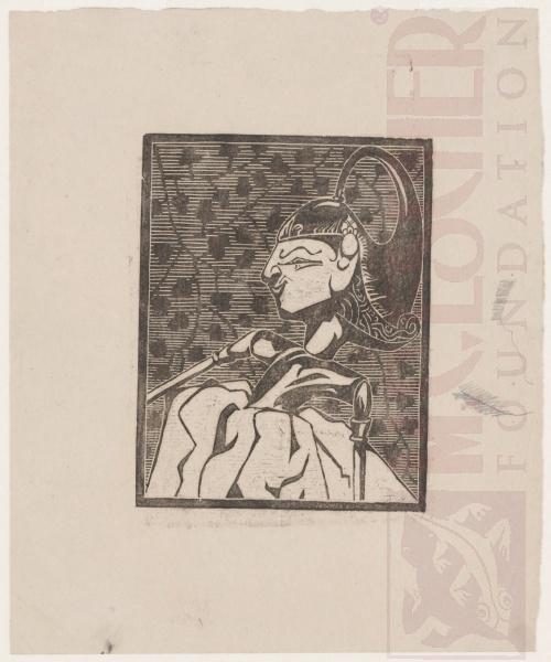 Wayang Puppet. 1919 or 1920, Woodcut.