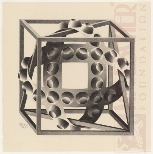 Cube with Ribbons. February 1957, Lithograph.