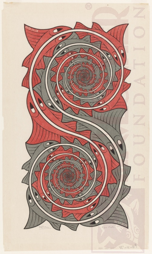 Whirlpools. November 1957, Woodcut and Wood Engraving, printed from two blocks.