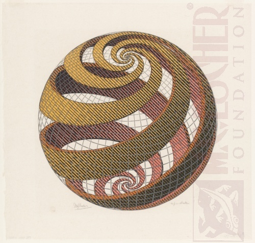 Sphere Spirals. October 1958, Woodcut.