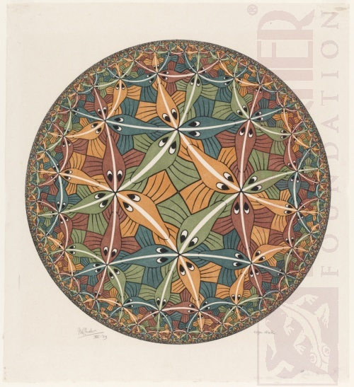 Circle Limit III. December 1959, Woodcut, printed from five blocks.