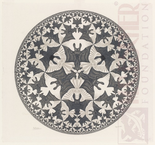Circle Limit IV (Heaven and Hell). July 1960, Woodcut, printed from two blocks.
