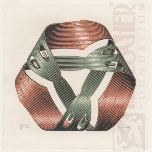 Móbius Strip I. May 1961, Woodcut, printed from four blocks.