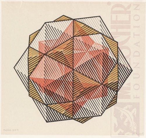 Four Regular Solids. May 1961, Woodcut, printed from three blocks.