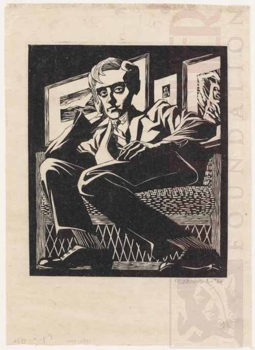 Self Portrait in a Chair. February 1920, Woodcut.
