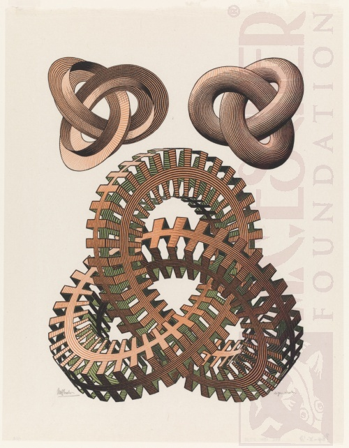 Knots. August 1965, Woodcut, printed from three blocks.