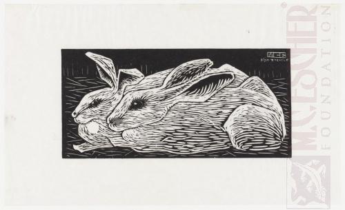 Rabbits. 1920, Woodcut.