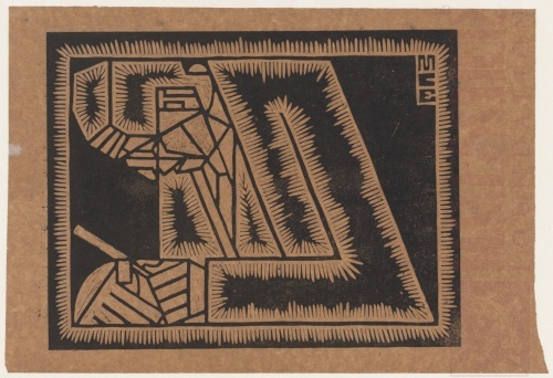 Escher's Father with Magnifying Glass. 1920, Linoleum Cut.