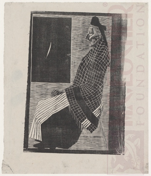 Seated Old Woman. 1920, Woodcut.