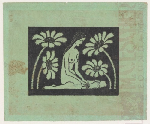 Seated Female Nude with Flowers. 1920 or 1921, Woodcut.
