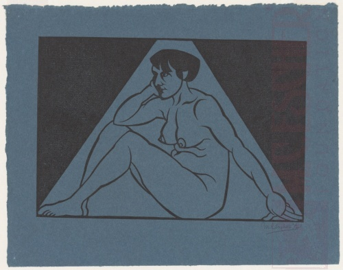 Seated Female Nude. 1921, Woodcut on blue paper.