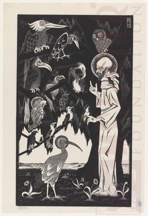St Francis. 1922, Woodcut.