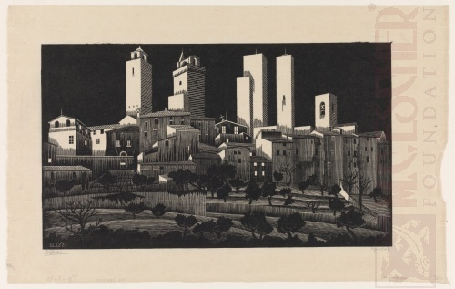 San Gimignano. January or February 1923, Woodcut.