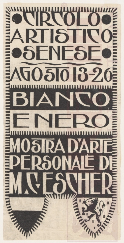 Announcement card for Exhibition M.C. Escher, Sienna. 1923, Woodcut.