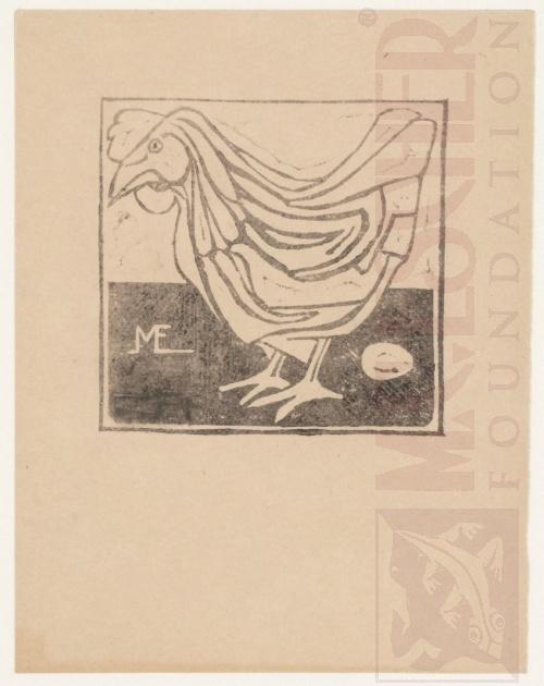 Haan met ei, Linoleumsnede, 1917