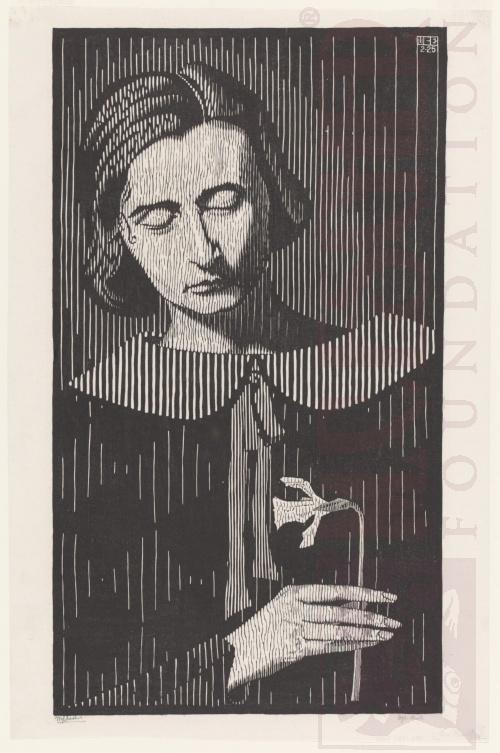 Portret van G. Escher-Umiker (Jetta). Februari 1925, Houtsnede