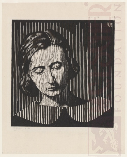 Portret van Jetta, detail. Februari 1925, Houtsnede