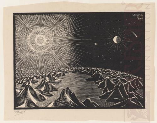 De vierde dag van de Schepping. December 1925, Houtsnede