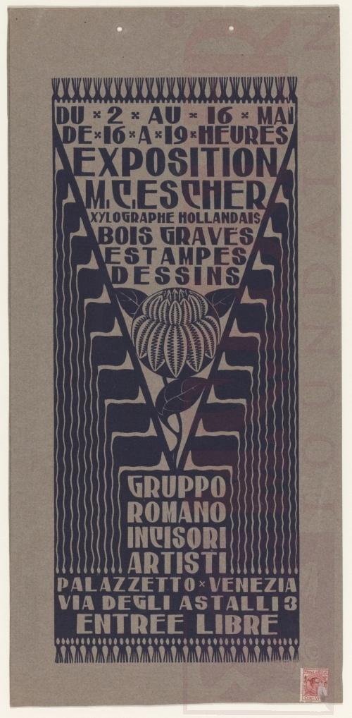 Aankondiging Expositie M.C. Escher in Venetië. 1926 Houtsnede