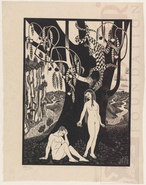De Zondeval. Maart 1927, Houtsnede