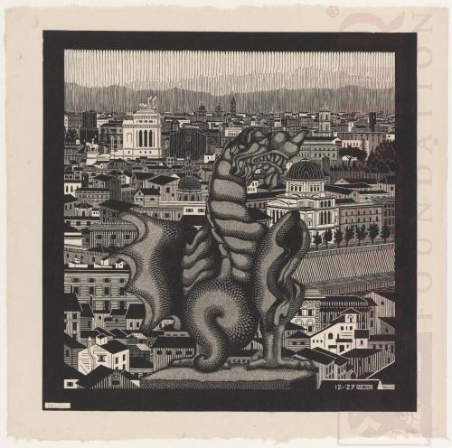 van Borghese, December 1927, Houtsnede gedrukt met twee blokken