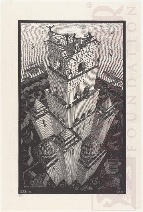 Toren van Babel. Februari 1928, Houtsnede