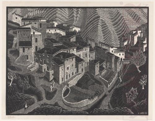 Faro San Martino, Abruzzi. Mei 1928, Houtsnede afgedrukt met twee blokken