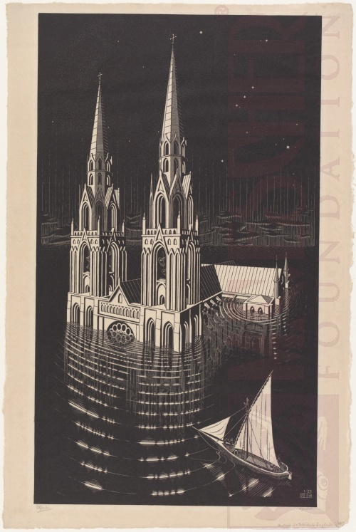 De verdronken Kathedraal. Januari 1929, Houtsnede