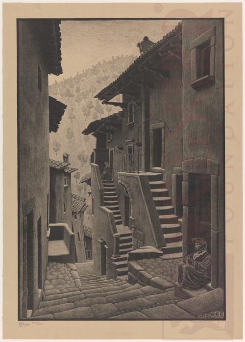 Straat in Scanno, Abruzzi. Januari 1930, Lithografie
