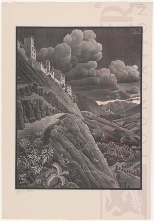 Castrovalva, Abruzzi. Februari 1930, Lithografie