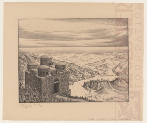 Cattolica van Stilo, Calabria. November 1930, Lithografie